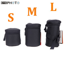Camera Lens Bag Case Pouch Waterproof Padded Protector for DSLR Nikon Canon Sony Lenses Black Size S M L