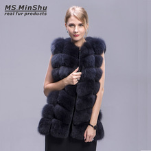 Ms.MinShu Real Fox Fur Coat 70cm Style Thick Fur Vest Sleeveless Outwear Fox Fur Vest Fashion Winter Coat Natural Real Fur Coat(China)