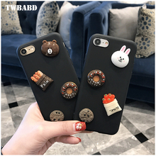 Phone Case For iPhone 7 7 Plus 3D Rilakkuma Cute Brown Rubber Bear Cover For iPhone 6 6S Plus Silicona Phone Cases Fundas
