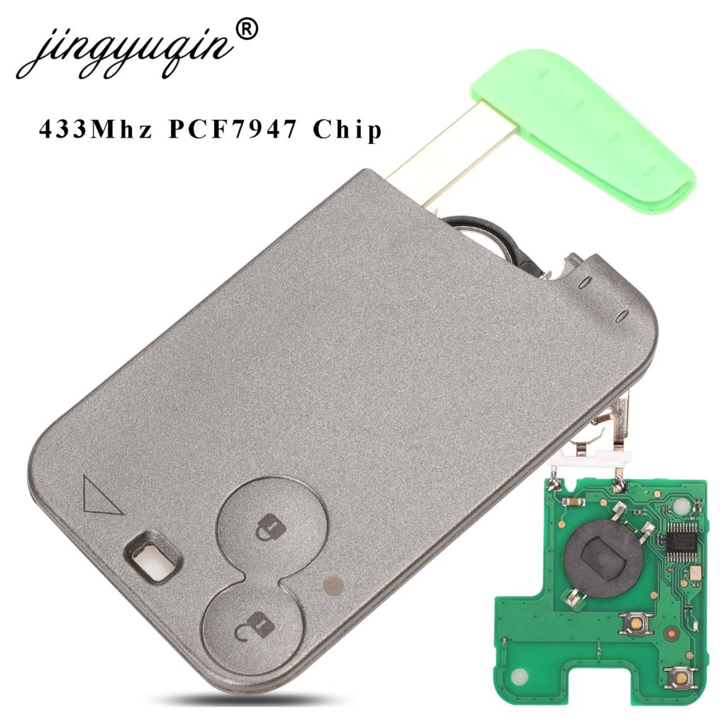 jingyuqin 2 Button Remote Key PCF7947 Chip 433Mhz suit for Renault Laguna Espace 2001-2006 Smart Card Remote Fob Car Styling(China)