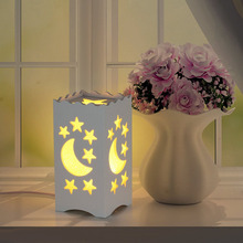 Minimalist Moon and Stars Shape Carved Ivory White Table Lamp Night Light Bedside Table Home Decoration 6 LED Desk Lamp