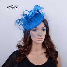 2017 new cobalt blue Ladies bridal fascinator Felt base wedding hats with Feathers for races Kentucky Derby,church.QF077(China)