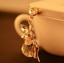 Hot Sale Drill flash Angel phone dust plug fashion crystal ball mobile phone plug