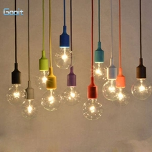 Colorful E27 Silicone Rubber Pendant Light Lamp Holder Socket DIY(China)