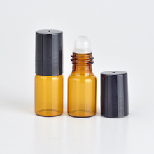 Wholesale 100Pieces/Lot 3ML Roll On Portable Amber Glass Refillable Perfume Bottle Empty Essential Oil Case With Plastic Cap(China)