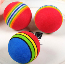 10pcs/lot Super Q Rainbow Ball EVA Pet Toy Small Dog Cat Toys Playground Golf Practice Balls 35mm 42mm