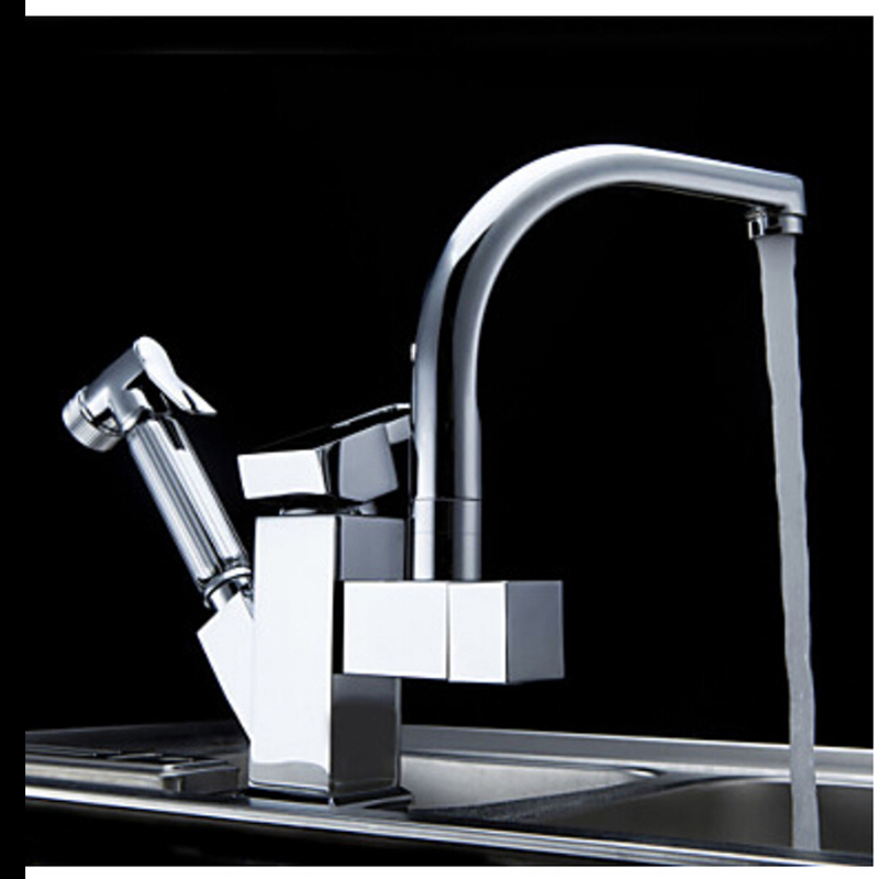 Ulgksd-Chrome-Brass-Kitchen-Faucet-Pull-Out-Sprayer-Vessel-Bar-Sink-Faucet-Single-Handle-Hole-Two