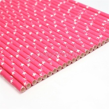 25Pcs Pink Stars Paper Drinking Straws Party Birthday Supplies Decoration New