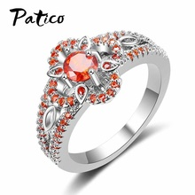 PATICO Wholesale High Quality 925 Sterling Silver Rings For Women Vintage Orange CZ Crystal Flower Wedding Rings Brand Jewelry(China)