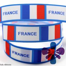 6-75mm France Holiday Printed Grosgrain Ribbon/Elastic Band DIY Handmade Hair Bow, Hair Clips, Hair Band MD160614-22-4709
