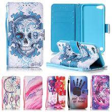 For Apple iPod Touch 5 Case Leather Wallet & Silicone Cover iPod Touch 6 Flip Case Skull Patterns For Coque iPod Touch 5 / 6