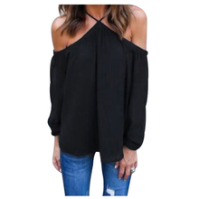 MAKE Hot Women's Sexy Off Shoulder Blouse Halter Long Sleeve Chiffon Top Ladies Solid Causal Loose Chiffon Shirts Blouses(China)