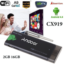 CX919 Android Mini PC Smart TV Stick Quad Core 2GB 16GB Bluetooth4.0 1080P TV Box with XBMC DLAN External WiFi Antenna RK3188T(China)