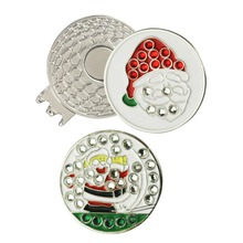 Crystal Father Christmas Golf Ball Marker with Magnetic Hat Clip or Cap Clip with Blister Packing