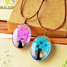 Flyleaf 2017 Handmade Natural Dry Flowers Life Tree Long Necklaces & Pendants For Women Casual Girlfriend Gift Creative Jewelry