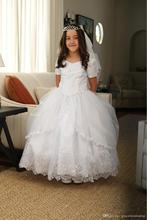 2016 Ball Gown Flower Girls Dresses Short Sleeves Appliques Beads First Communion Dresses Ankle length Girls Pageant Gowns FE57