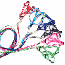 1pc Adjustable 1CM Print Rope Small Pet Dog Cat Rope Collars & Lead Leash Harness Chest Strap Pets Porducts Random Color