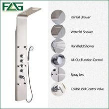 Factory Direct Sale Rain Waterfall Shower Panel 6pc Massage Jets Nickel Brushed With Hand Shower Bathroom Shower Set Faucet Tap