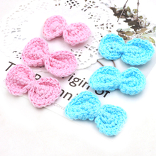 20pcs assorted DIY PINK AND SKY BLUE crochet bow tie handmade baby pacifier chain accessory princess craft EA342(China)
