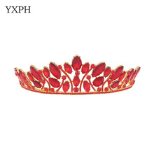 wedding design royal crown queen crown red ornaments crown high-end fashion bridal headdress crown beautiful woman(China)