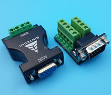 Free Shipping 1Pcs RS-232 To RS-485 Female Adapter Converter+1Pcs DB9 Male Connector Terminals(China)