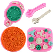 Steam Punk Screw Gear Spanner Clock Shape Cake Border Silicone Fondant Cake Chocolate Molds Kitchen Baking Cake Decorating Tools(China)