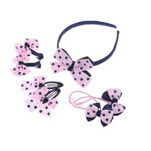 7Pcs/lot Lovely Girls Hair Accessories Headwear Set Printing Dot Bow Children Headbands Multi-style Hair Accessories(China)