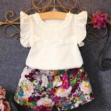 New Kids Baby Girls Floral Vest Tops Shirt +Shorts Pants 2PC/ Set Petal Sleeve Children Girl Outfits Clothes for 3~7 Years Old