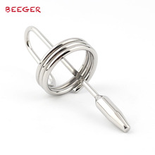 Buy BEEGER Ringed Urethral Plug,hot wand Stainless Steel silicone catheter high quality Male Chastity Device Penis Insert