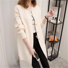 2017 Spring Autumn Women's Top Medium-long Cardigan Outerwear Sweater Color white black red ZZ131