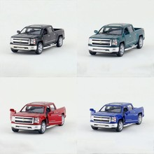4 in1 Kinsmart Silverado Pickup 4 Color/Set 1/46 model car trucks Diecast Metal Pull Back Car Toy For Gift Collection