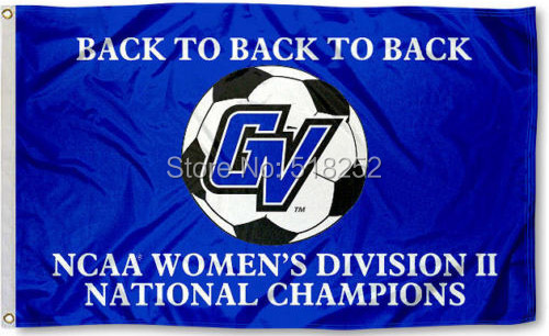 GVSU Womens Div II Soccer Champs Flag 3x5 FT NCAA 150X90CM Banner 100D Polyester Custom flag grommets 603,free shipping(China (Mainland))