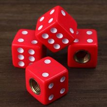 4pcs Red dice Car Truck Bike Dice Tyre Tire Wheel Stem Air Valve Dust Cap Cover car-styling