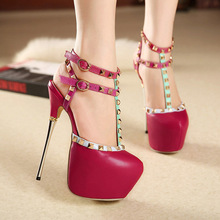 Catching 16 Cm Genuine Leather Ladies Shoes Woman Shoes Platform Woman Pump High Heel Ankle Strap Women Wedding Shoes Size 35-40