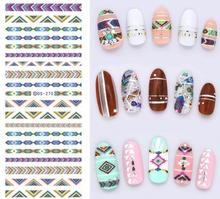 DS270 Design Water Transfer Nails Art Sticker Harajuku Rainbow Decoration Nail Wraps Sticker Watermark Fingernails Decals