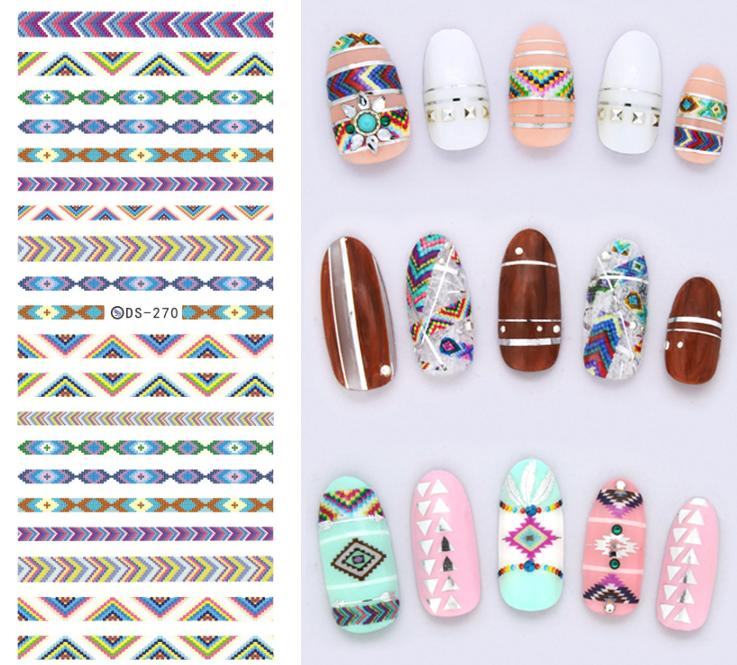 DS270 Design Water Transfer Nails Art Sticker Harajuku Rainbow Decoration Nail Wraps Sticker Watermark Fingernails Decals<br><br>Aliexpress