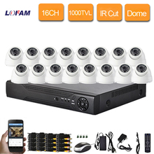 LOFAM home 16ch realtime recording DVR 1000tvl Indoor dome IR Cut security camera cctv system video surveillance kit 16 channel