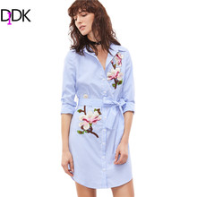 DIDK Women Fashion Dresses Embroidery Dress Blue And White Striped Lapel Long Sleeve Self Belted Embroidered Shirt Dress