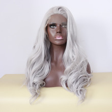 Handmade Fashion Grey White Silver Lace Front Wig for Black Women African Heat Resistant Synthetic Hair Long Natural Wavy Wigs