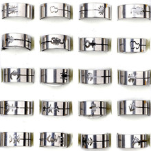 Wholesale 20Pcs/lot New Fashion Silver Wedding Rings For Men Women Hollow Insect Carved Stainless Steel Wedding Rings Jewelry