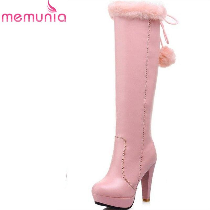 MEMUNIA Fashion knee high boots pu leather stiletto high heels women boots round toe black white platform winter boots<br>