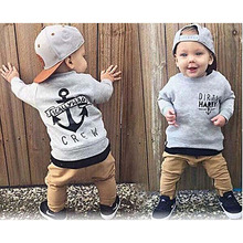 Fashion Newborn Baby Boys clothes Kids Long Sleeve Cotton Grey Sweater+Khaki Trousers 2PCS Trend Children Clothing Set Baby Boy(China)