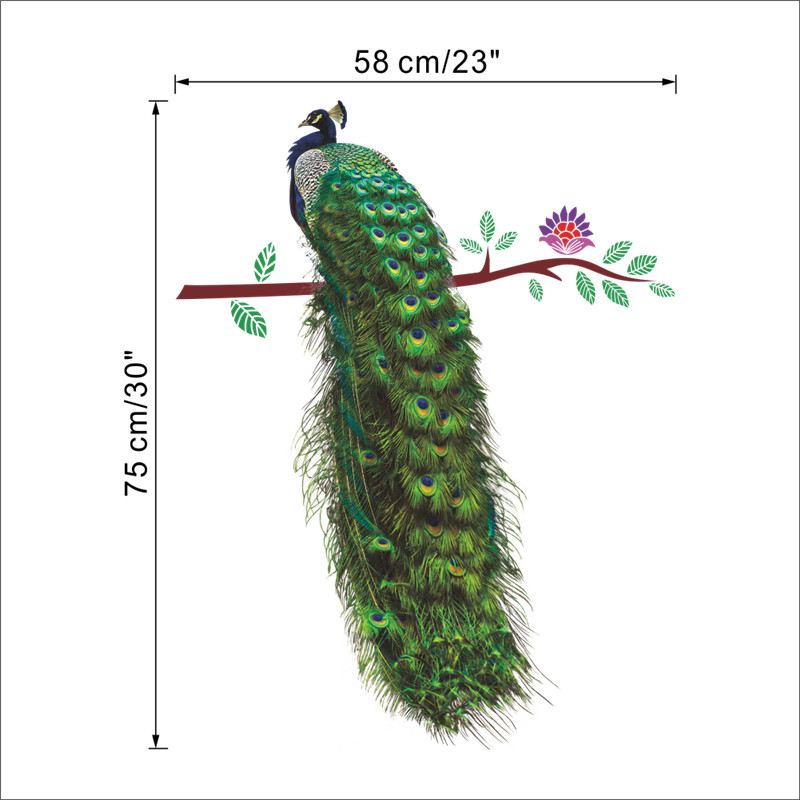HTB1 1HkSFXXXXXYXFXXq6xXFXXXI - % Animals Peacock On Branch Feathers Wall Stickers 3d Vivid Wall Decals Home Decor Art Decal Poster Animals Living Room Decor