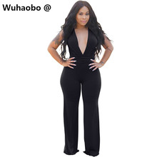 Wuhaobo Summer women rompers black bodycon jumpsuit Deep v neck wine red elegant overalls sexy club bodysuit woman hot sexi pic