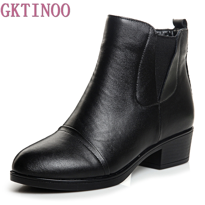 Women Boots Thick High Heels Platform Shoes Genuine Leather Autumn Sping Sexy Boots For Women Riding Ankle Boots<br>