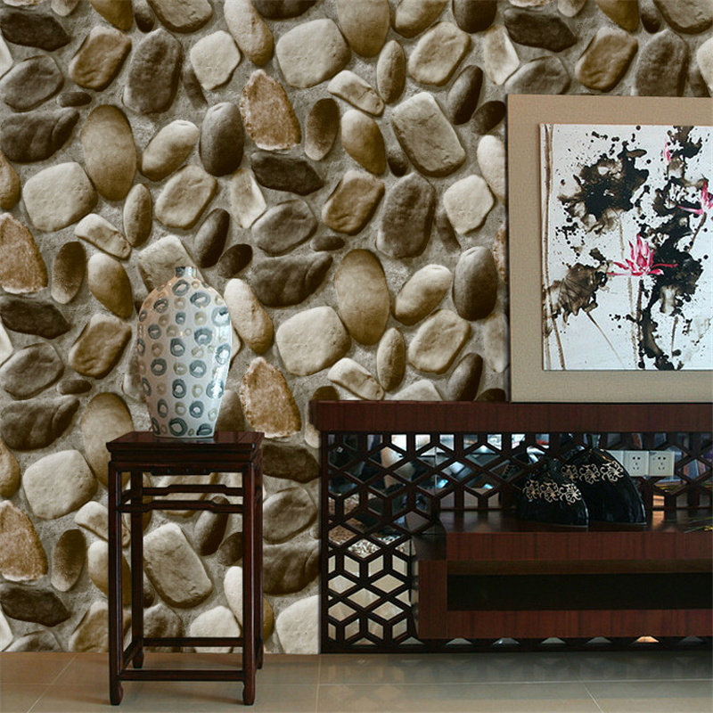 3D Stereo Simulation Pebble Wallpaper Back to nature Natural Culture Stone Foot Bath Chinese Restaurant Wallpaper<br><br>Aliexpress