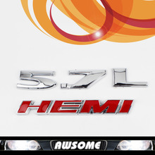Pair 3D Silver 5.7L HEMI Red Car Rear Tailgate Sticker Decal Engine Emblem For Charger Mopar Dodge Ram Pickup Challenger
