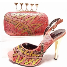 Shoes and Bag Peach Color Matching Shoes and Bags for Wedding Women Shoes and Bag Set Decorated with Rhinestone Women Pumps