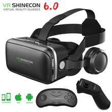 shinecon 6.0 VR virtual reality goggles 3D Glasses google cardboard VR headset box for 4.5-6.0 inch ios and Android smartphone(China)