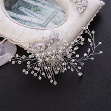 The bride bride selling jewelry headdress Crystal Beads Hair Comb collocation Korean classic bride wholesale
